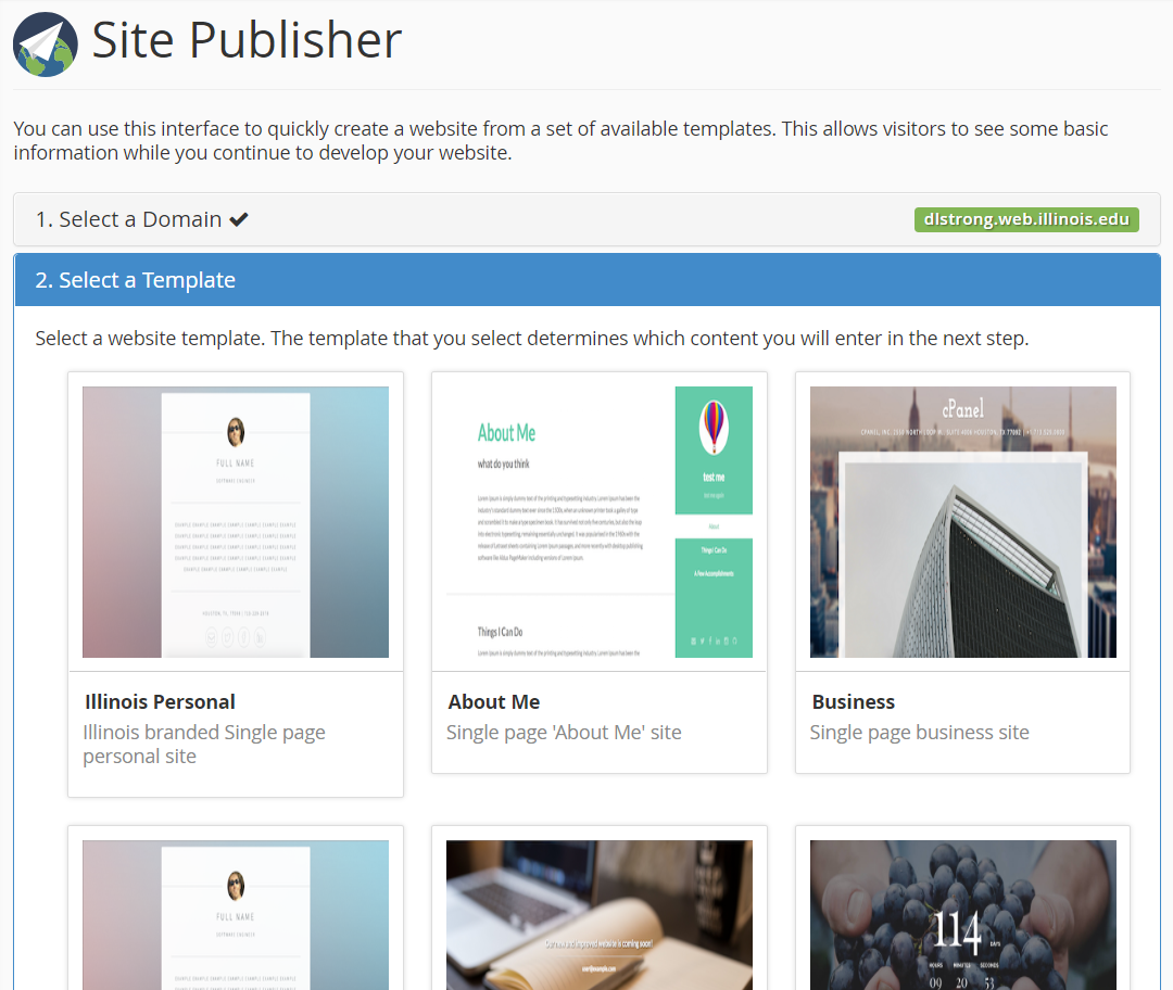 Site Publisher design selection