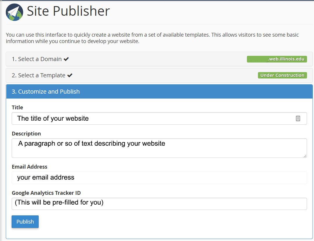 Site Publisher customizations for Under Construction design