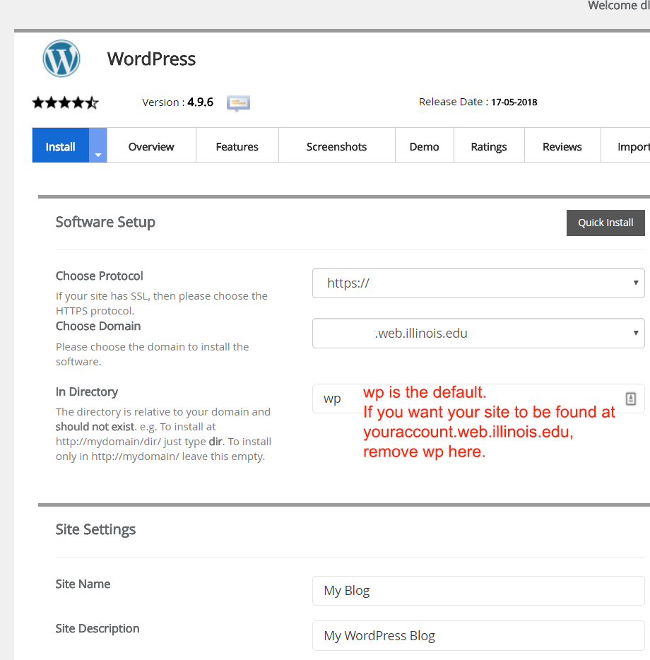 Softaculous WordPress