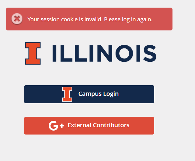 Session cookie error message with campus login button