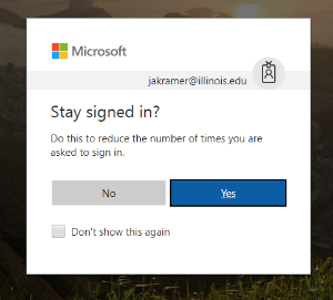 Microsoft Stay Signed In prompt